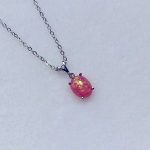 Pink Opal Oval Pendant Silver Necklace NWT